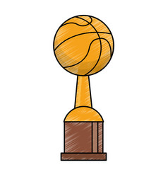 drawing basketball winner cup prize vector image vector image