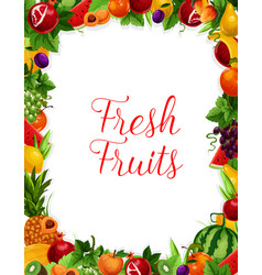 Exotic fresh natural fruits frame poster vector