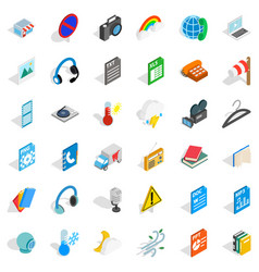 file and app icons set isometric style vector image vector image