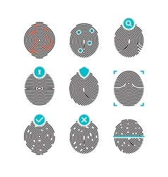 Fingerprint icons identity finger prints vector