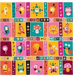 flowers birds mushrooms snails cute characters vector image vector image