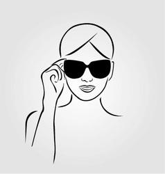 Girl wearing sunglasses vector