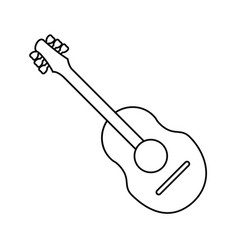 Guitar traditional acoustic music thin line vector