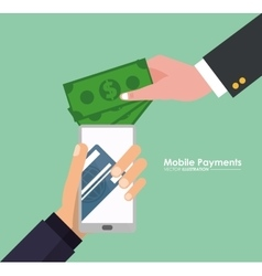 Hand holds smartphone mobile payment money virtual vector