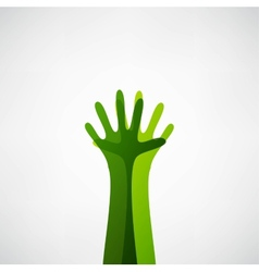 hands tree vector image vector image