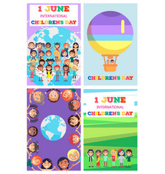 international children s day greeting cards set vector image vector image