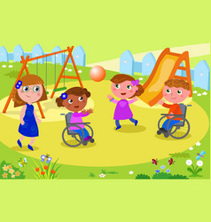 kids playing volleyball with kids on wheelchair vector image