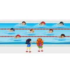 Kids practice swimming in the pool vector