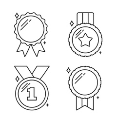 Medals line icons vector