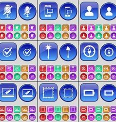 Microphone sms avatar tick mace compass laptop vector