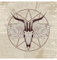 Pentagram with the image of a goat skull vector