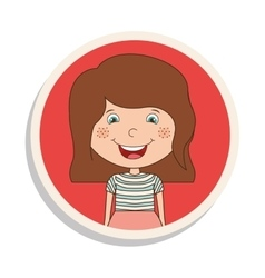 Round frame and girl smiling with brown hair vector