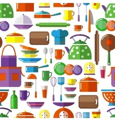 Seamless kitchen tools background vector image vector image