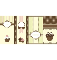 Set of banners with cupcakes vector