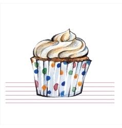 Watercolor cupcakes Hand drawn retro style vector image vector image