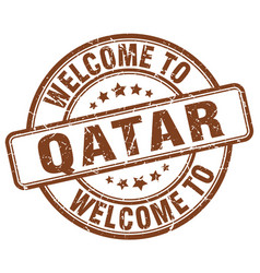 Welcome to qatar brown round vintage stamp vector