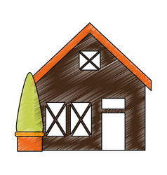wooden house structure with tree vector image
