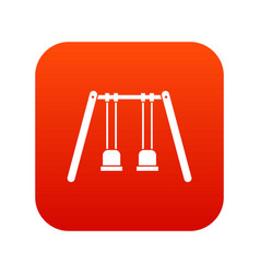 wooden swings hanging on ropes icon digital red vector image vector image