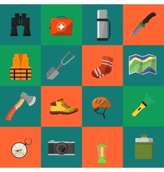 Camping equipment symbols and icons vector