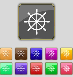 Ship steering wheel icon sign set with eleven vector