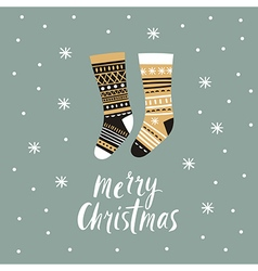 Christmas card Christmas stocking vector image