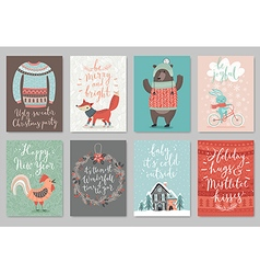 Christmas card set hand drawn style vector