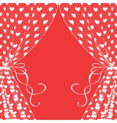 Curtains with hearts vector