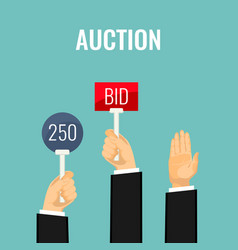 Auction with hands holding paddles number and bid vector