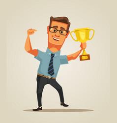 Happy winner smiling businessman character vector