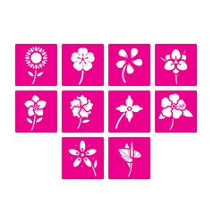 Flat color flowers icon set vector