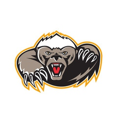 Honey badger mascot claw vector