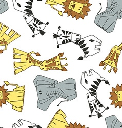 4 cute African animals in a seamless pattern vector image