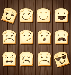 Different emotions of sliced bread vector