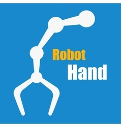 White robot hand on blue vector