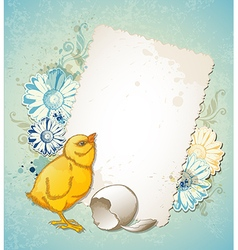 Vintage Easter card with yellow chicken vector image