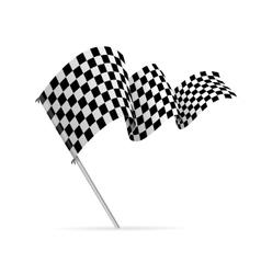 Single checkered racing flag avto vector