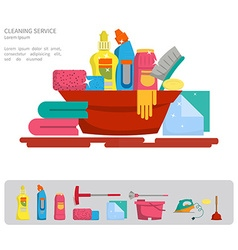 Set of objects for cleaning the house vector