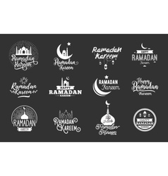 Ramadan kareem typographic design set vector