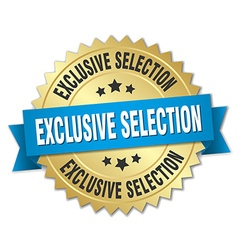 Exclusive selection 3d gold badge with blue ribbon vector