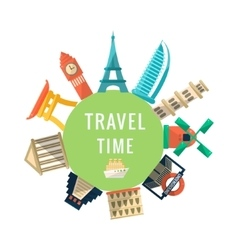 Travel time logo with famous buildings vector