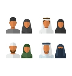 Arabic man and woman set vector