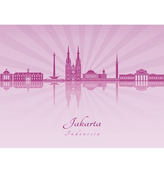 Jakartai skyline in purple radiant orchid vector