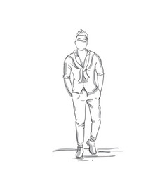 business man sketch silhouette wear fashion vector image