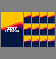 calendar 2017 flat design for a year vector image