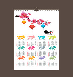 Calendar 2018 design chinese new year the year of vector