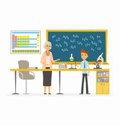 chemistry lesson - modern cartoon people vector image