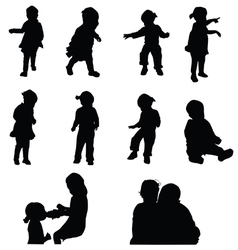 Children happy silhouette vector