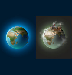 clean and polluted planets vector image