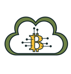 cloud computing with bitcoin symbol vector image vector image