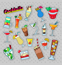 cocktails and drinks set for stickers vector image vector image